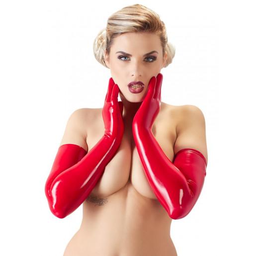 Czerwone rękawiczki z lateksu LateX