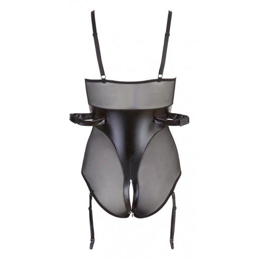 Czarne body z paskami do krępowania Cottelli Collection