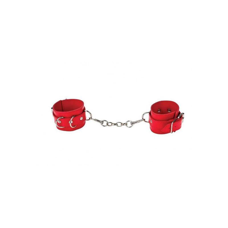 Skórzane kajdanki BDSM w kolorze czerwonym OUCH
