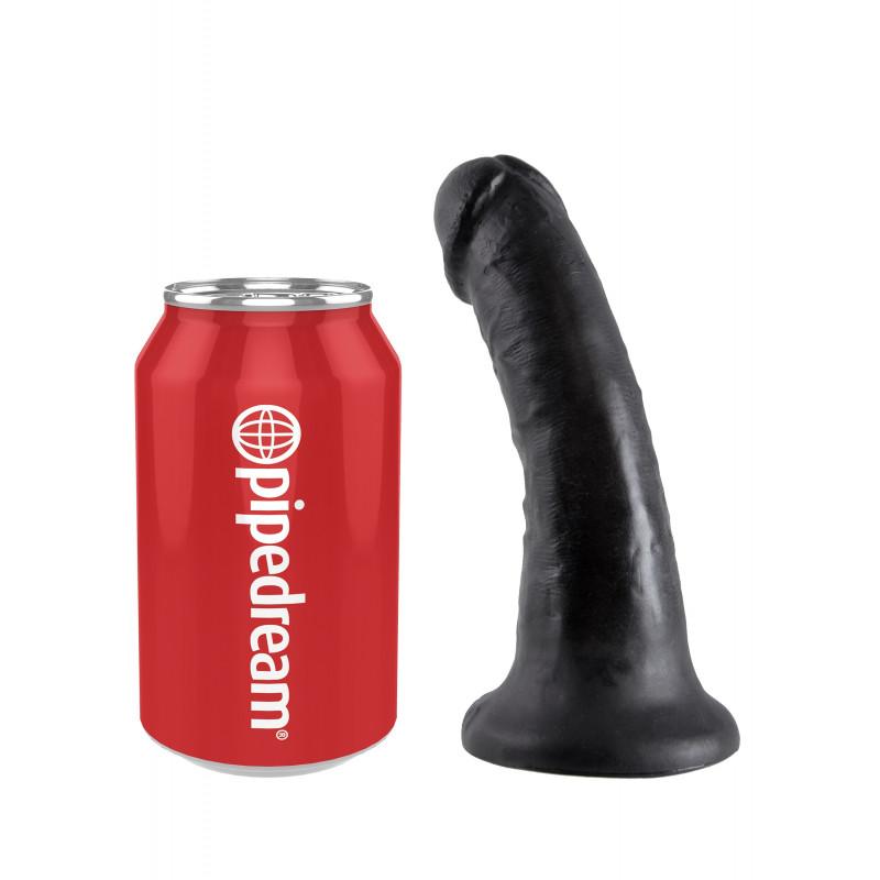 Czarne realistyczne dildo z przyssawką King Cock 15cm