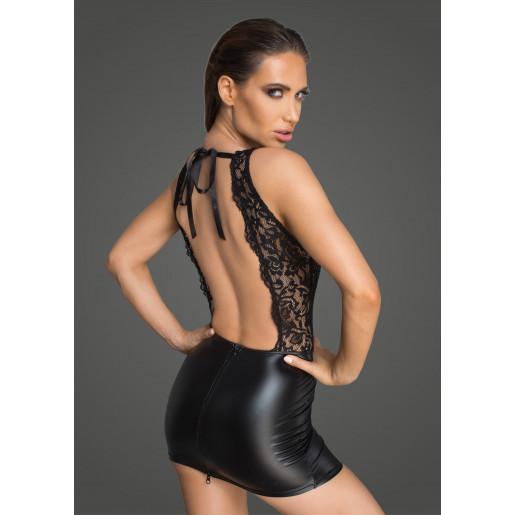 Czarna sukienka z wetlooku i koronki L Noir Handmade