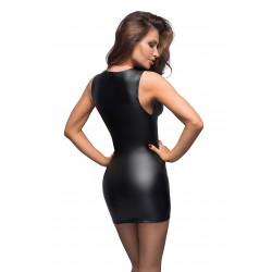 Czarna sukienka z wetlooku z koronkowym dekoltem L Noir Handmade