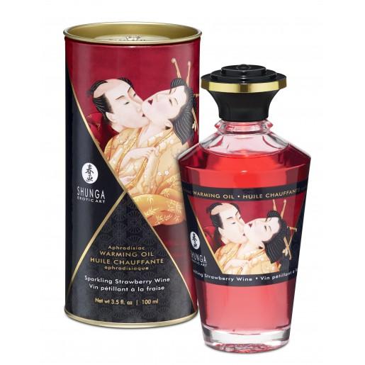 Jadalny olejek do masażu erotycznego truskawkowe wino Shunga 100 ml
