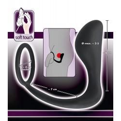 Pierścień na penisa połączony z korkiem analnym Black Velvets