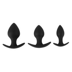 Zestaw 3 progresywnych korków analnych Black Velvets