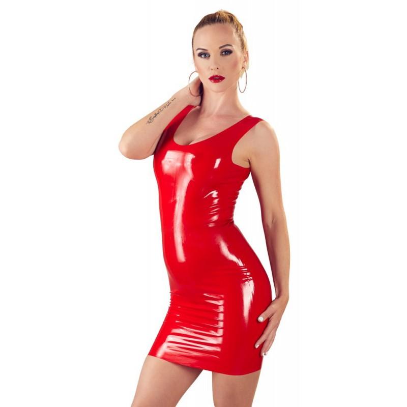 Czerwona lateksowa mini sukienka LateX