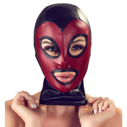 Czarno czerwona maska BDSM ze spandexu Bad Kitty
