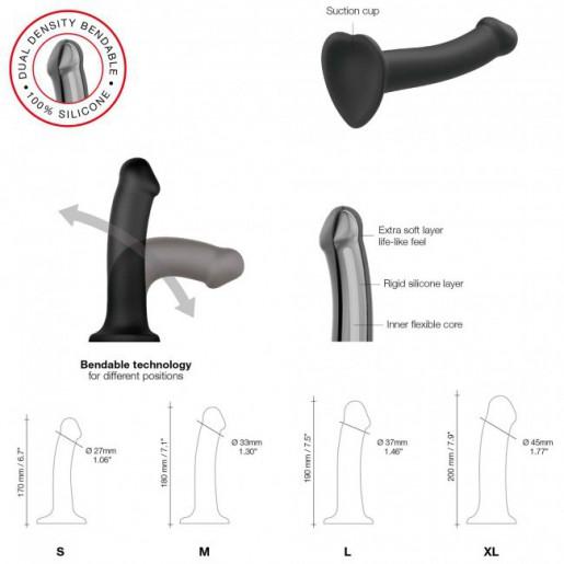 Czarne elastyczne dildo Strap-on Double Density rozmiar XL