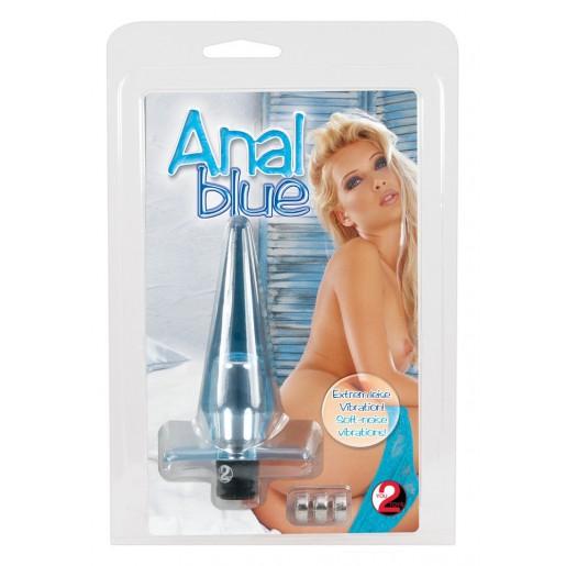 Elastyczny korek analny z wibracjami Anal Blue