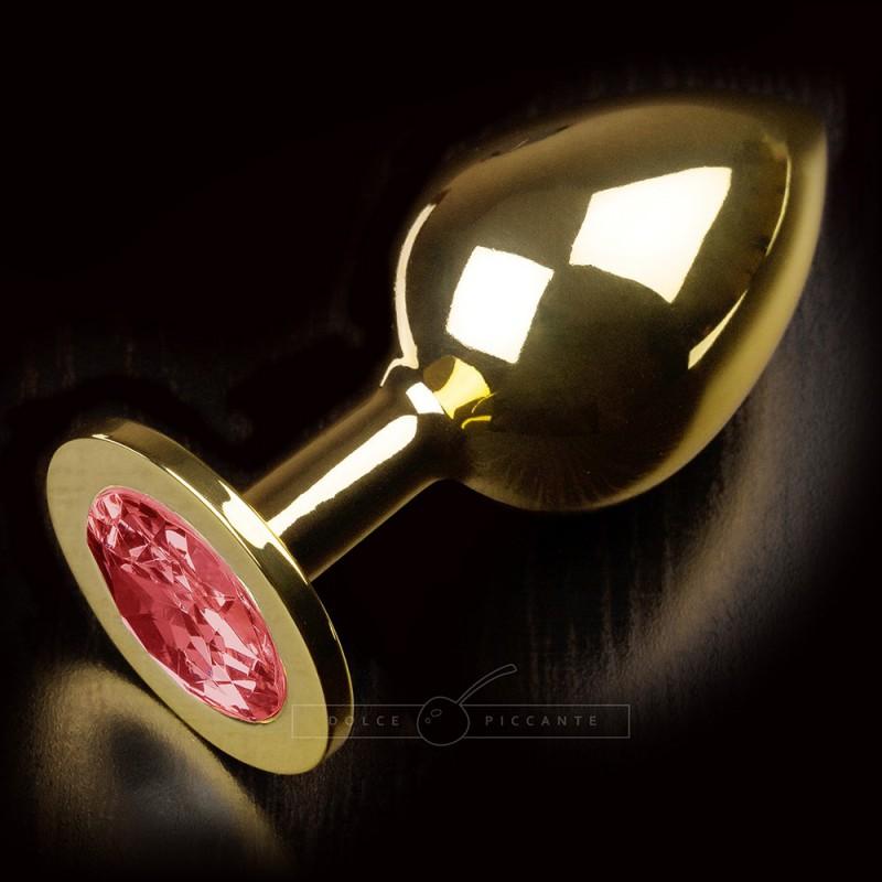 Korek analny z różowym kryształem Dolce Piccante rozmiar L