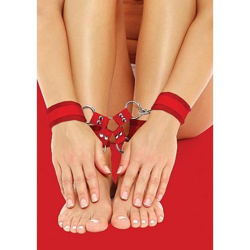 Czerwony krzyżak BDSM na rzepy OUCH