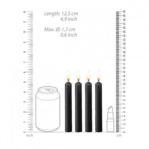 Zestaw 4 czarnych świec parafinowych OUCH