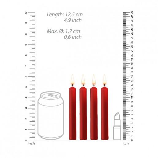 Zestaw 4 czerwonych świec parafinowych OUCH