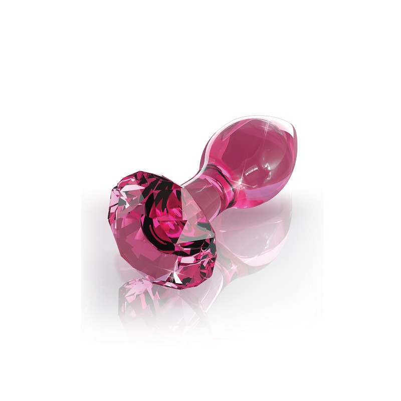 Różowy korek analny ze szkła Icicles nr 79