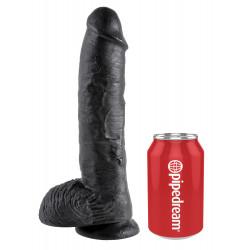 Czarne dildo z jądrami i przyssawką King Cock 27cm