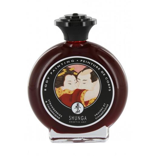 Jadalna farba do ciała o smaku wina truskawkowego Shunga 100 ml