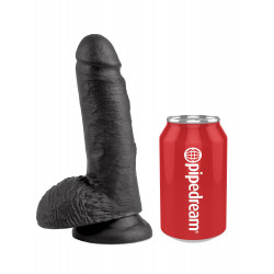 """King Cock 7"""" Cock with Balls Black"""