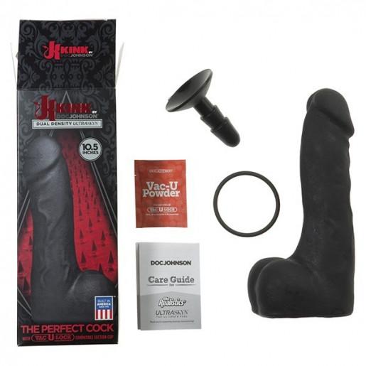 Czarne dildo z przyssawką Kink The Perfect Cock 26cm